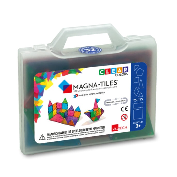 Magna-Tiles Clear Colors 32 in bewaarkoffer